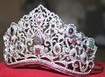 Brithday Tiara 50.00 Ct Certified Diamond Emerald Ruby Sapphire Bridal Hair Accessories